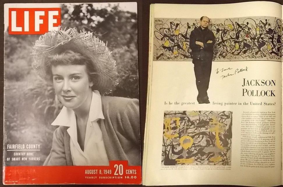 This copy of LIFE Magazine from 1949, signed by the artist Jackson Pollock.jpg