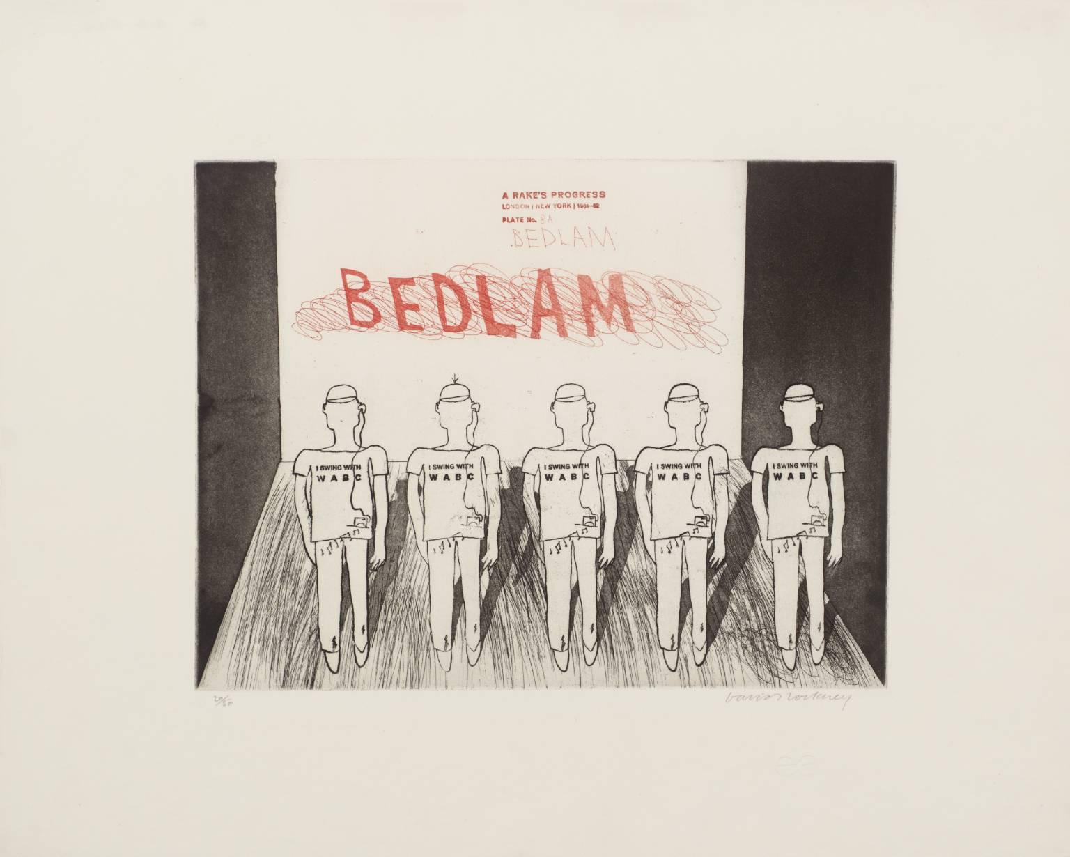 """David Hockney, """"Bedlam"""" From A Rake's Progress, 1961-63 - Etching Edition of 50.jpg"""