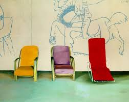 David Hockney, Three Chairs With a Section of a Picasso Mural, 1970.jpg