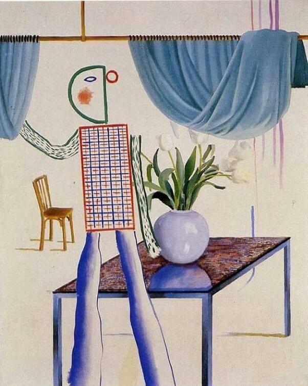 David Hockney, Invented Man Revealing Still Life, 1975.jpg