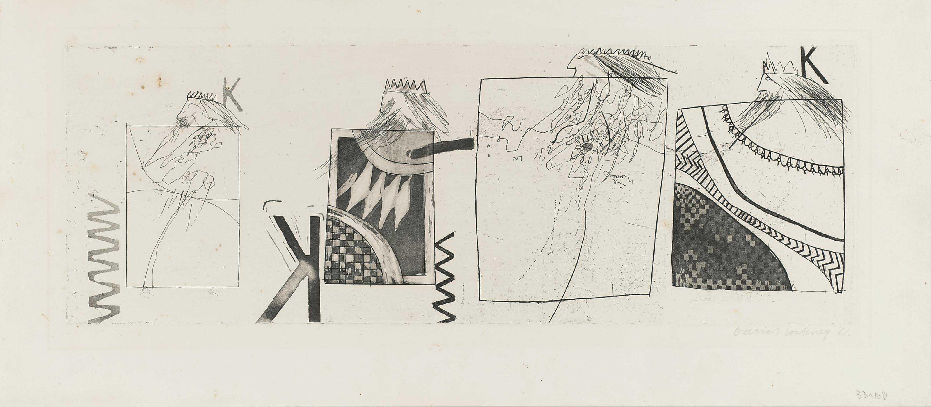 David Hockney, Three Kings and a Queen, 1961.jpg