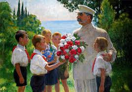 보리스 블라디미르스키, 스탈린에게 장미를, 1949.jpg
