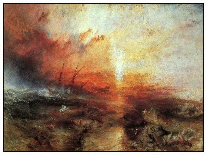 터너, 노예선-부재 죽은 자와 죽어가는 자를 배 위에서 던지는 노예주들-태풍은 다가오고, 1840.jpg
