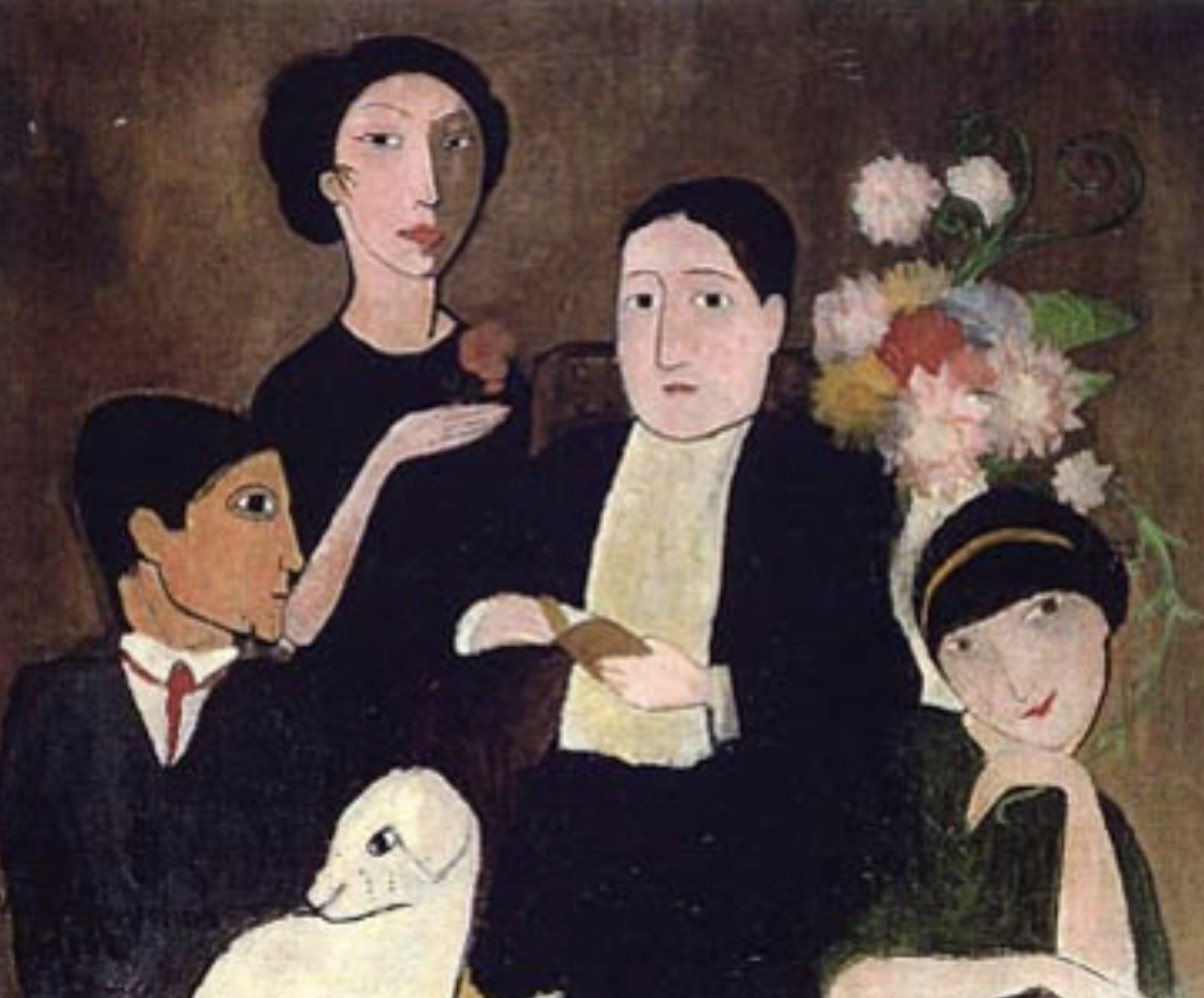마리 로랑생의 1908년 작품 (왼쪽이 피카소, 중앙에 연인 아폴리네르, 오른쪽 피카소 애인 올리비에와 꽃을 든 마리 로랑생 자신 ).jpg