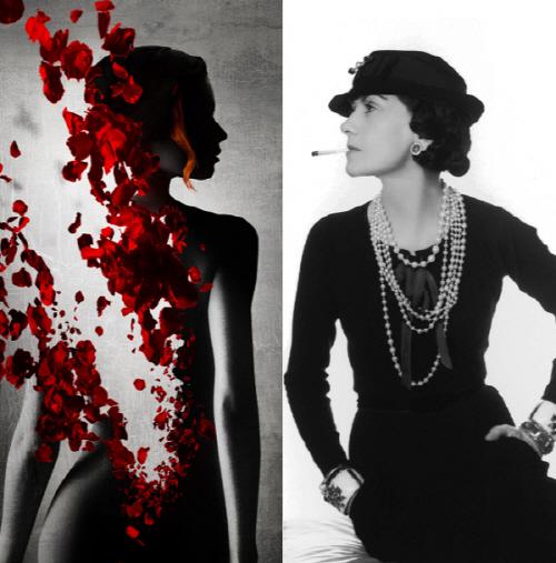[크기변환]파트리크 쥐스킨트의 소설을 원작으로 한 영화 '향수'의 포스터(왼쪽)와 코코 샤넬.jpg