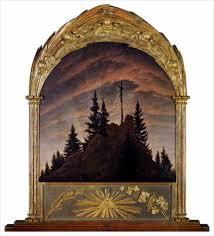 Caspar David Friedrich, 테첸 제단화, 전체모습 ,산중의 십자가, 1807.jpg