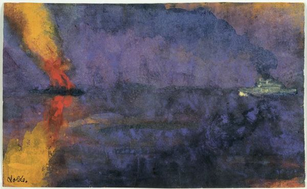 8Emil Nolde, Warship and Burning Steamer, undated (ca. 1943).jpg