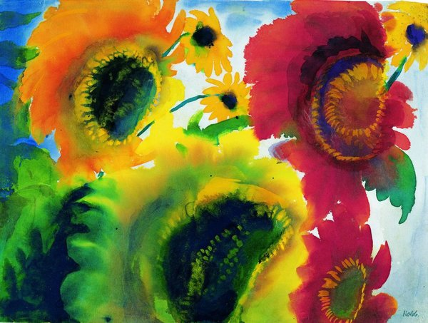 4Emil Nolde, Red and yellow sunflowers, 1920.jpg
