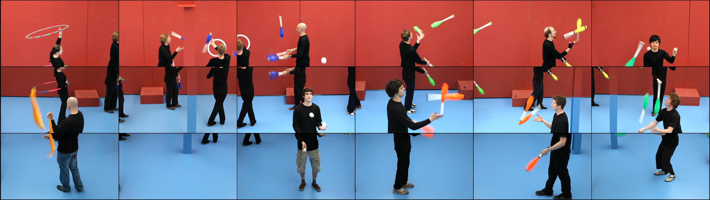 David Hockney, still from The Jugglers, June 24th 2012, 2012. Eighteen-screen video installation, 9 min..jpg