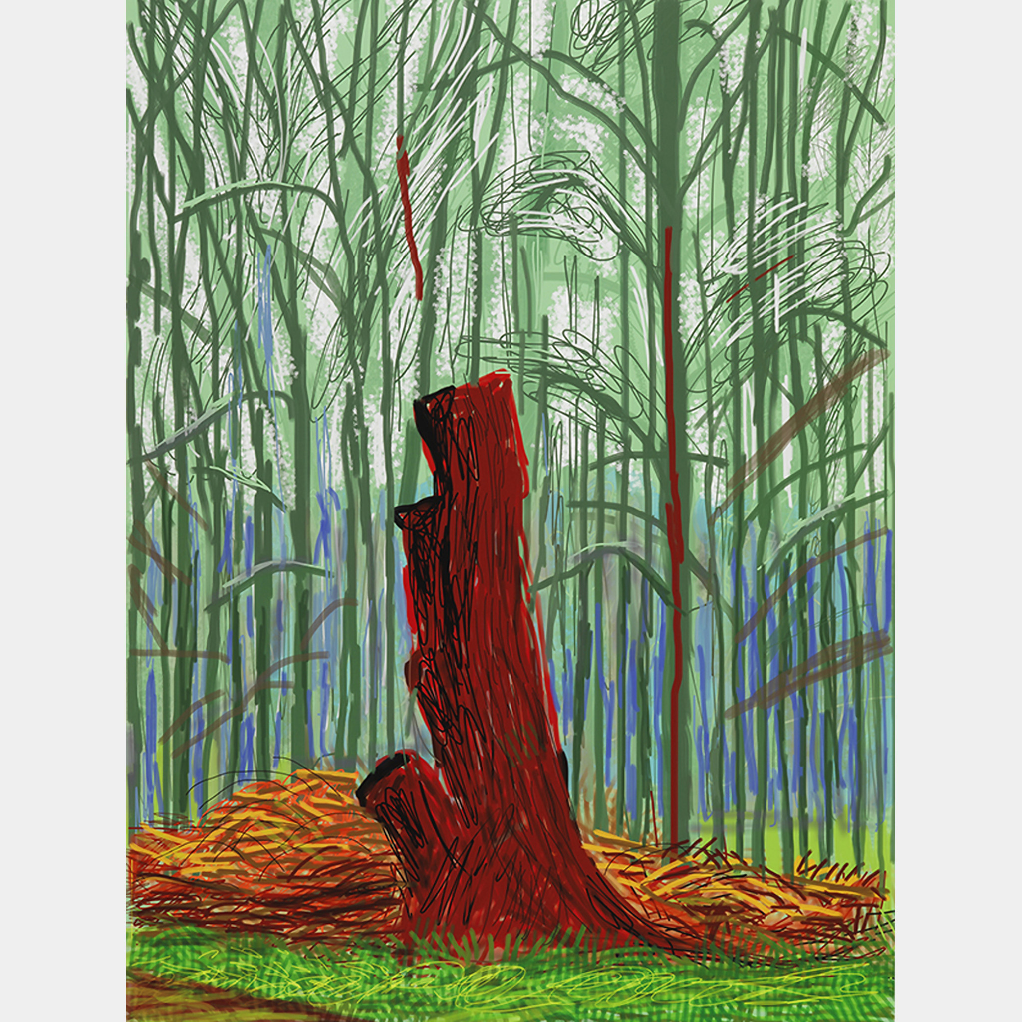 David Hockney, The Arrival of Spring in Woldgate, East Yorkshire in 2011 (twenty eleven),  25 February, 2011,  iPad drawing printed on paper.jpg